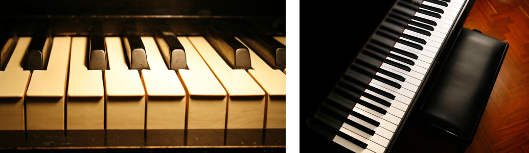 Collage of keyboards & pianos